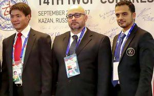 Liqin Yang, Maxime Goutfer et Mounir Harrathi, lors du 14è congrès de l'IWUF ● © DR