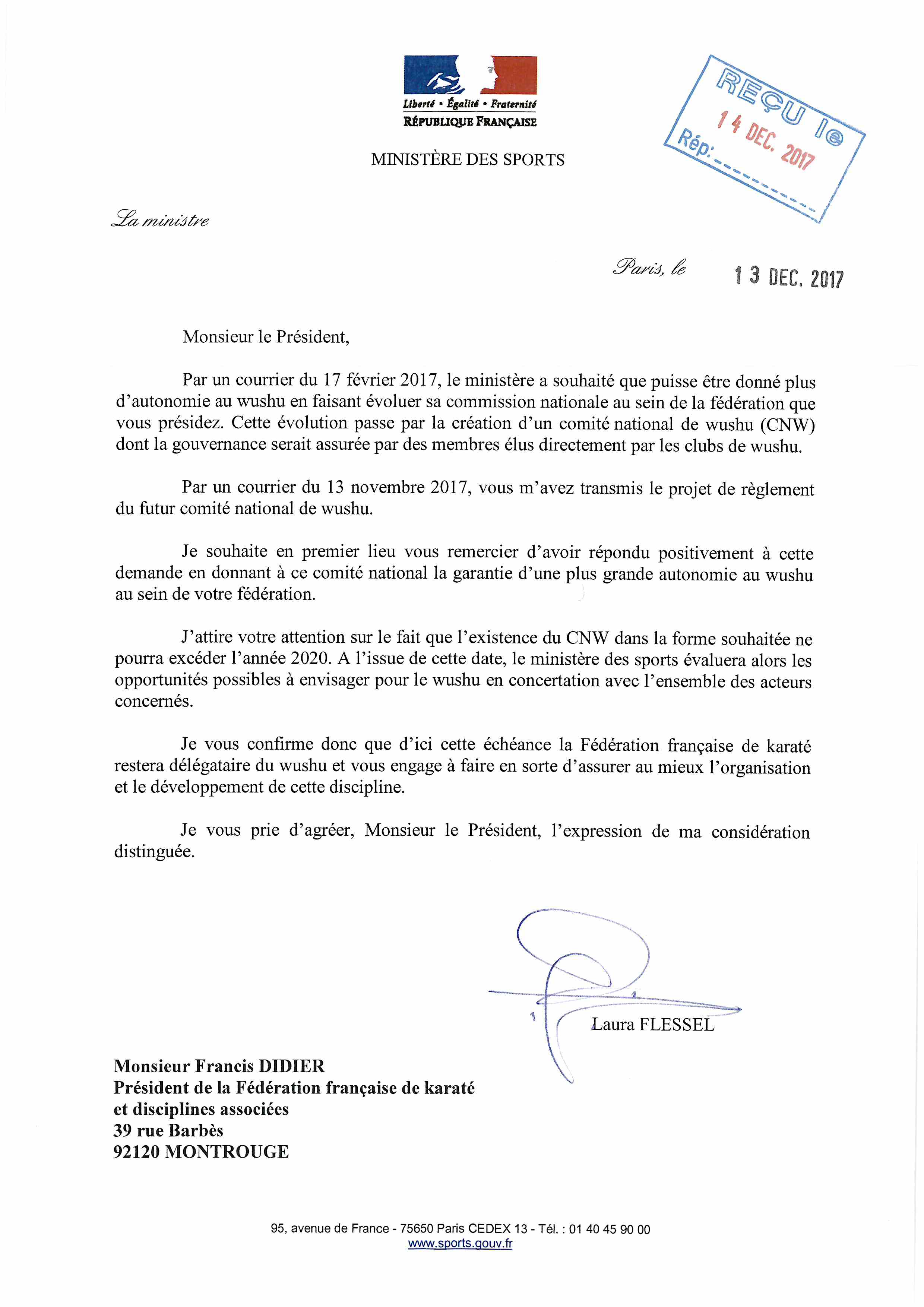 courrier ministre