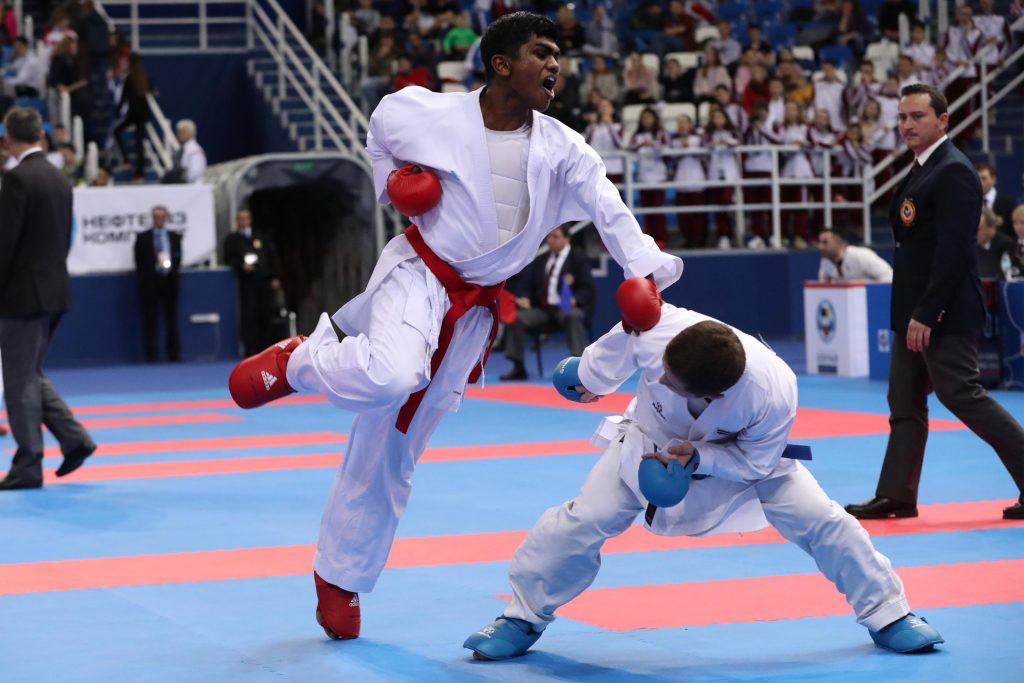 Kajith Kanagasingam lors des championnats d'Europe espoirs 2018 : Crédit : Denis Boulanger - FFK